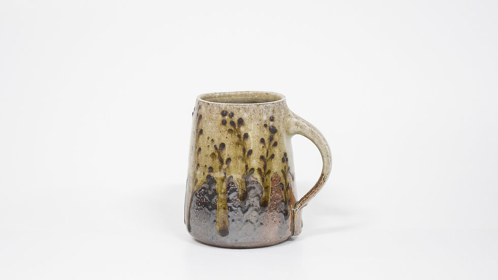 Wood Fired Salt Glazed Mug, Black Fern Design in Green
