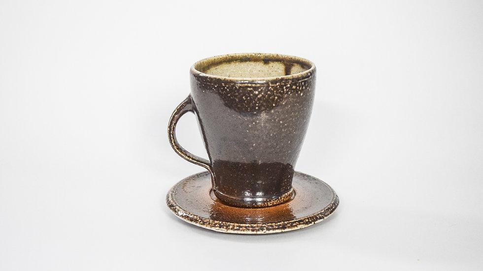 Wood Fired Salt Glazed Tea Cup, Black Slip