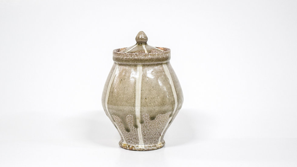 Wood Fired Salt Glazed Sugar Jar, Cream Stripe