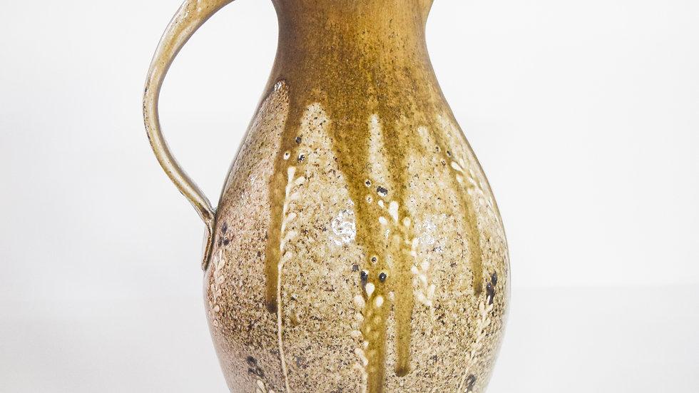 Wood Fired Salt Glazed Pitcher, White Fern Design in Gold