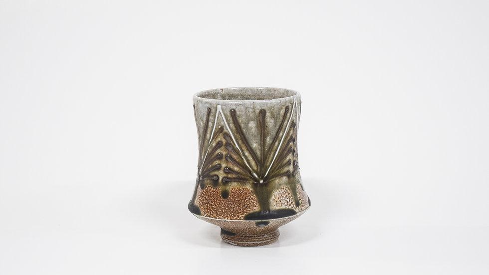 Wood Fired Salt Glazed Juice/Wine Tumbler, Geometric Design in Blue Green