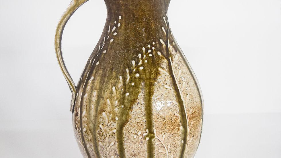 Wood Fired Salt Glazed Pitcher, White Fern Design in Green