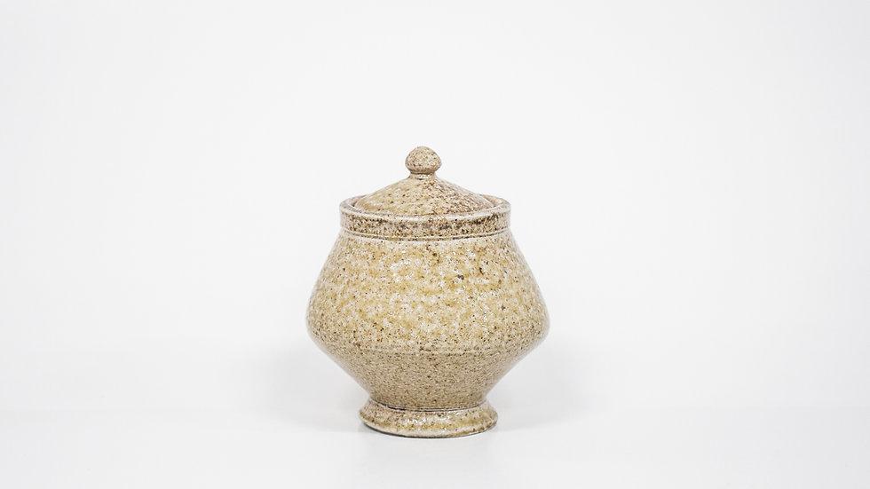 Wood Fired Salt Glazed Sugar Jar, Light Salt