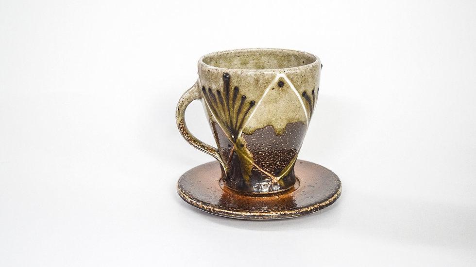 Wood Fired Salt Glazed Tea Cup, Diamond & Geometric Design in Green