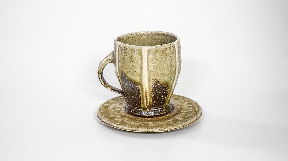 Wood Fired Salt Glazed Tea Cup, Beige & White Stripe