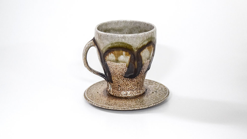 Wood Fired Salt Glazed Tea Cup, Black Swirl Design in Green