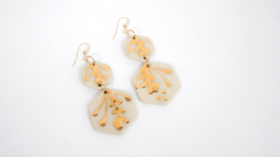 Floral Earring Dangles   Hand Painted with 22k Gold