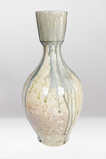 Wood Fired Vase with Slip Trailing Details