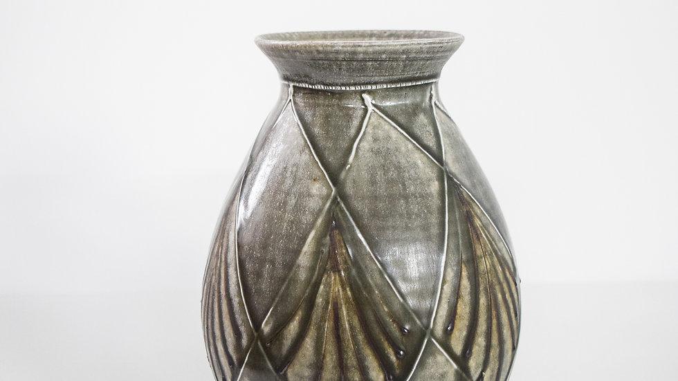 Wood Fired Salt Glazed Vase, Geometric Design in Blue Green