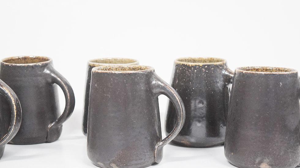 Wood Fired Salt Glazed Mug, Dark Slip Decoration