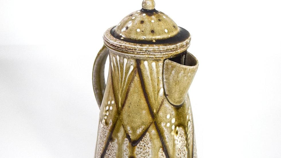 Wood Fired Salt Glazed Coffee Pot, White Fern & Diamond in Gold