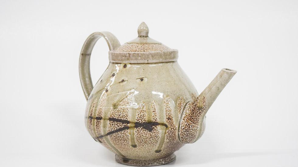 Wood Fired Salt Glazed Large Tea Pot, Floral Design in Green