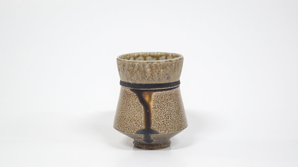 Wood Fired Salt Glazed Juice/Wine Tumbler, Dark Drip