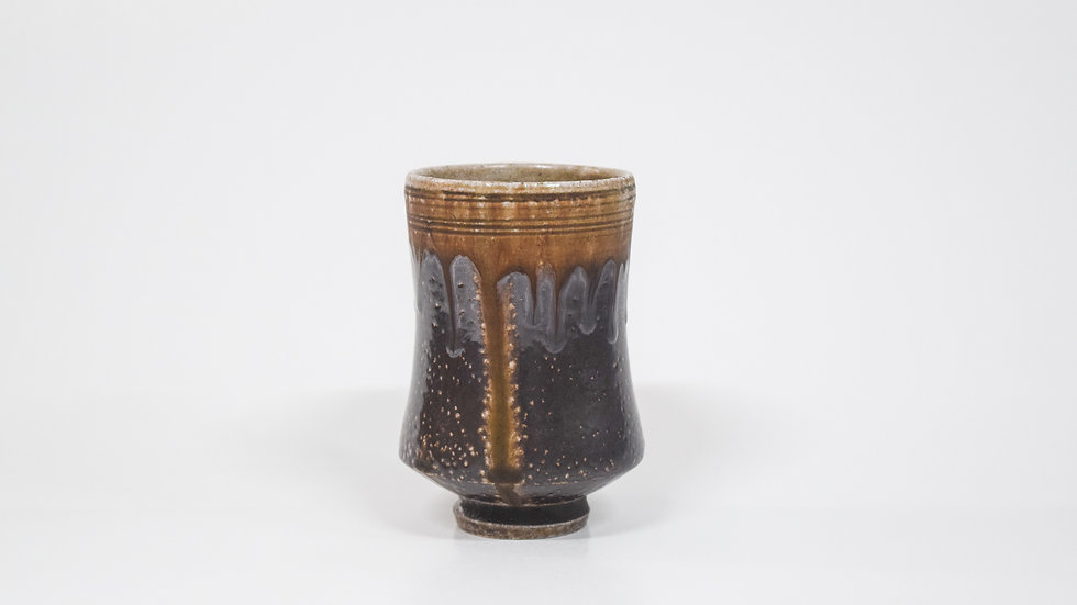 Wood Fired Salt Glazed Juice/Wine Tumbler, Dark Salt with Drip