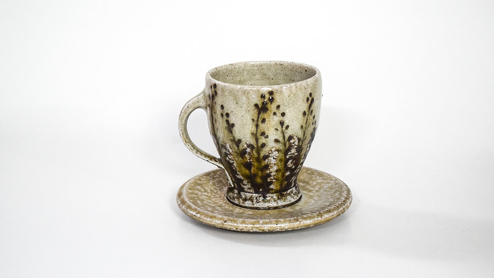 Wood Fired Salt Glazed Tea Cup, Black Fern Design in Green