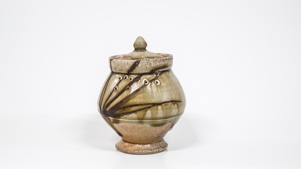 Wood Fired Salt Glazed Sugar Jar, Floral Design