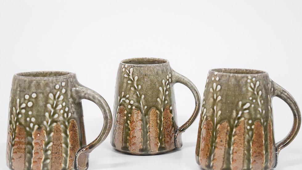 Wood Fired Salt Glazed Mug, White Fern Design in Blue Green