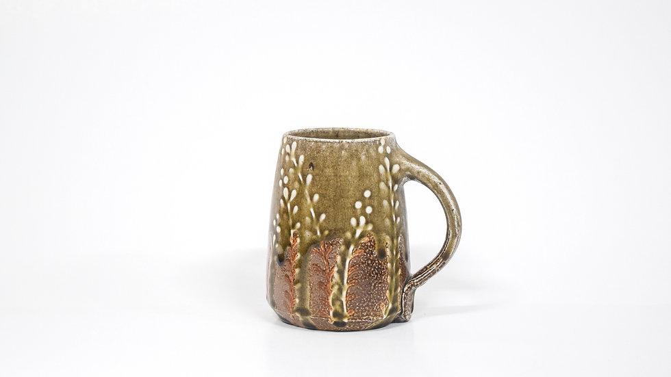 Wood Fired Salt Glazed Mug, White Fern Design in Green Gold