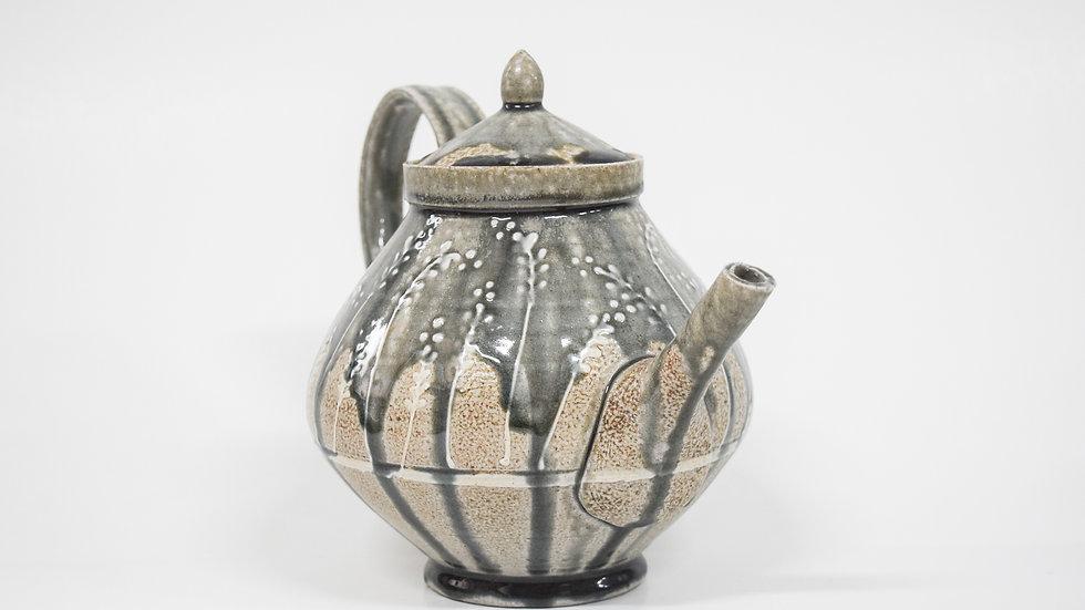 Wood Fired Salt Glazed Large Tea Pot, Floral Design in Blue