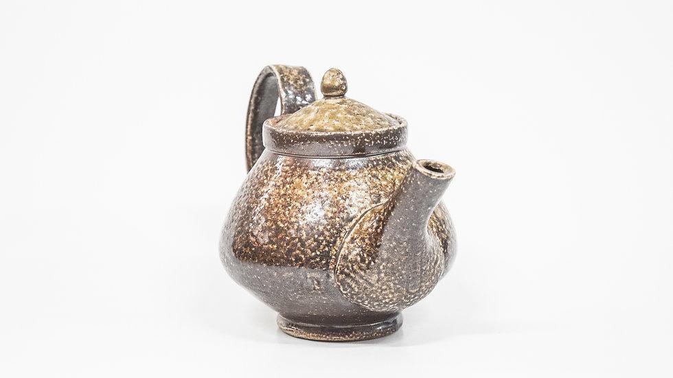 Wood Fired Salt Glazed Small Tea Pot, Dark Salt