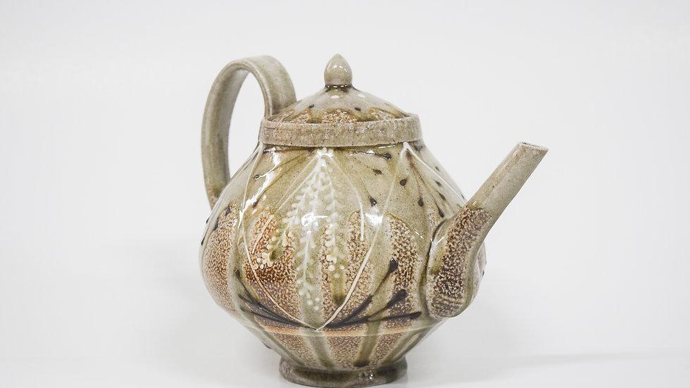 Wood Fired Salt Glazed Large Tea Pot, White Fern Design in Green
