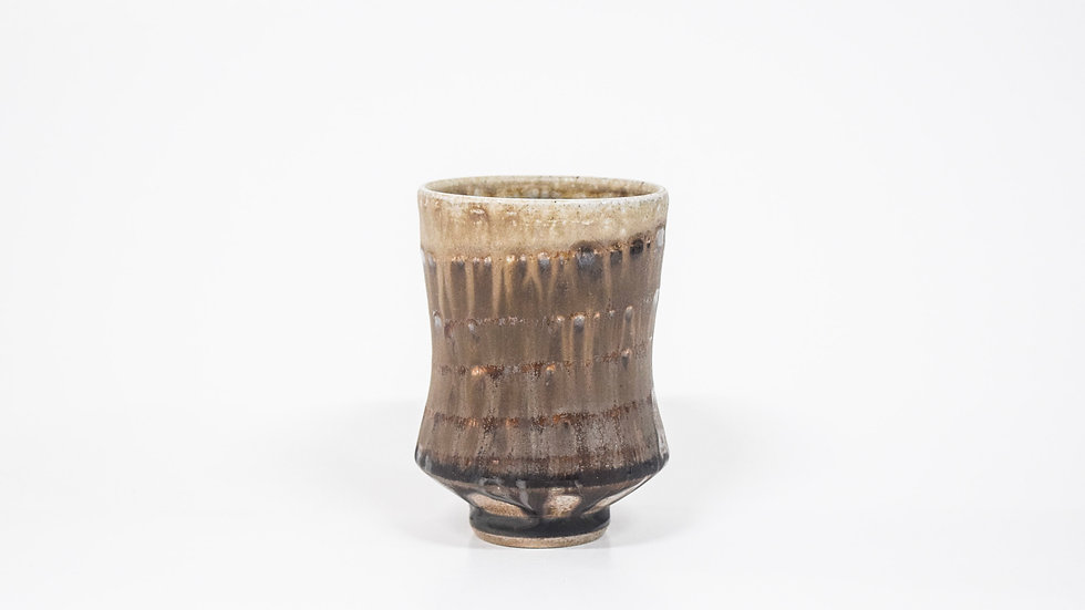 Wood Fired Salt Glazed Juice/Wine Tumbler, Dark Salt with Swirl