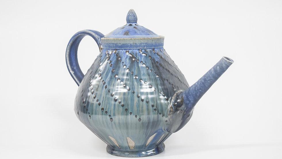 Wood Fired Salt Glazed Large Tea Pot, Blue Geometric Dots