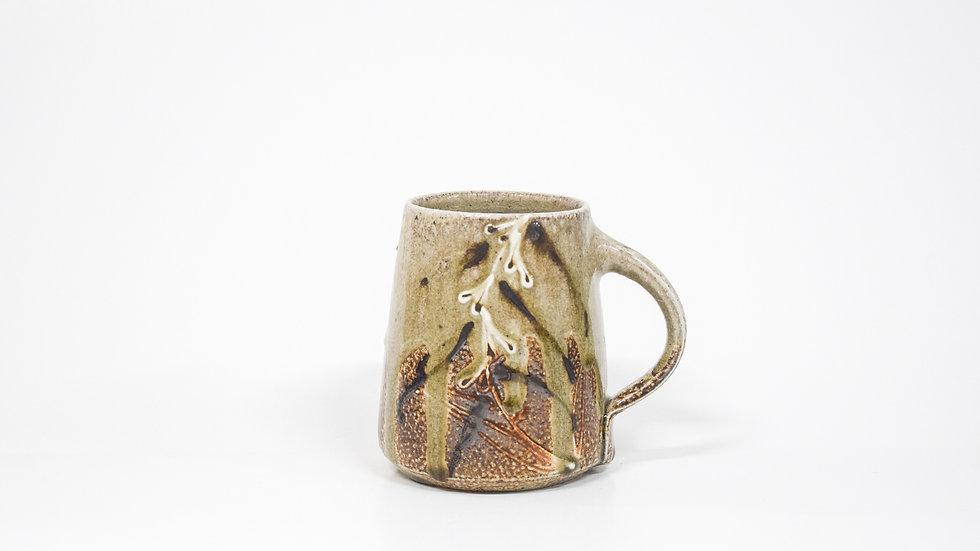Wood Fired Salt Glazed Mug, Fox Glove Design in White
