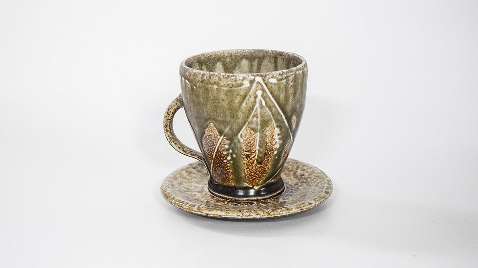 Wood Fired Salt Glazed Tea Cup, White Fern & Bow Design in Blue