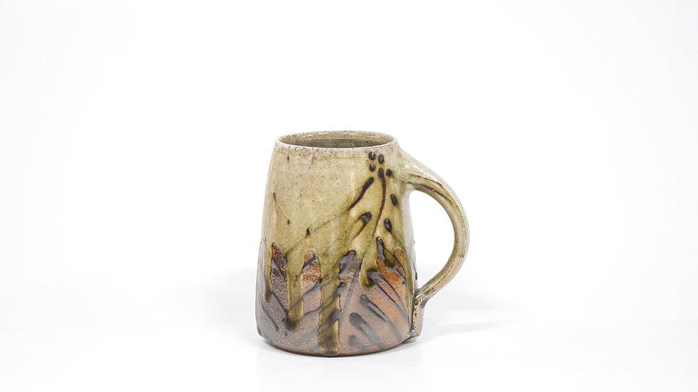 Wood Fired Salt Glazed Mug, Dark Palm Design in Green