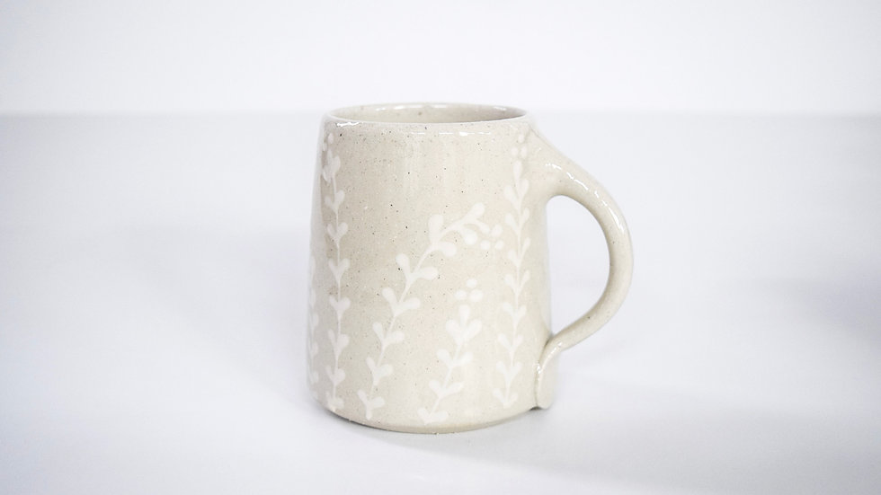 PRE-ORDER: Decorated Mug with White Florals