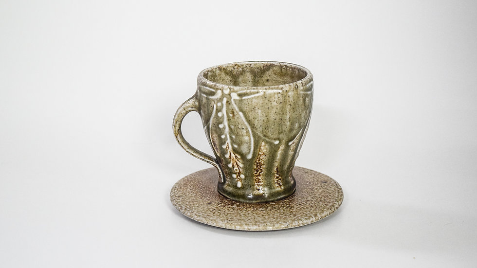 Wood Fired Salt Glazed Tea Cup, Floral Bow Decoration in Blue