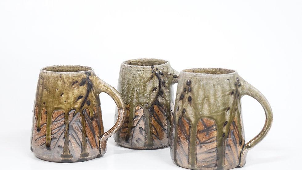 Wood Fired Salt Glazed Mug, Black Palm Design in Blue Green