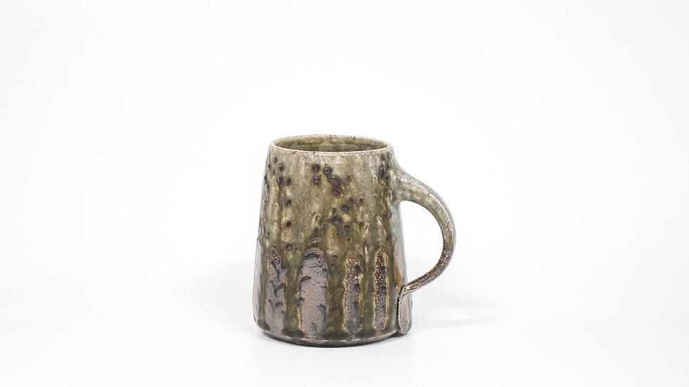 Wood Fired Salt Glazed Mug, Black Fern Design in Blue