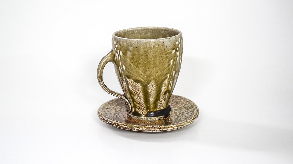 Wood Fired Salt Glazed Tea Cup, White Palm Design in Gold