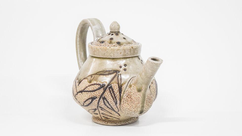 Wood Fired Salt Glazed Small Tea Pot, Dark Fern Design in Green