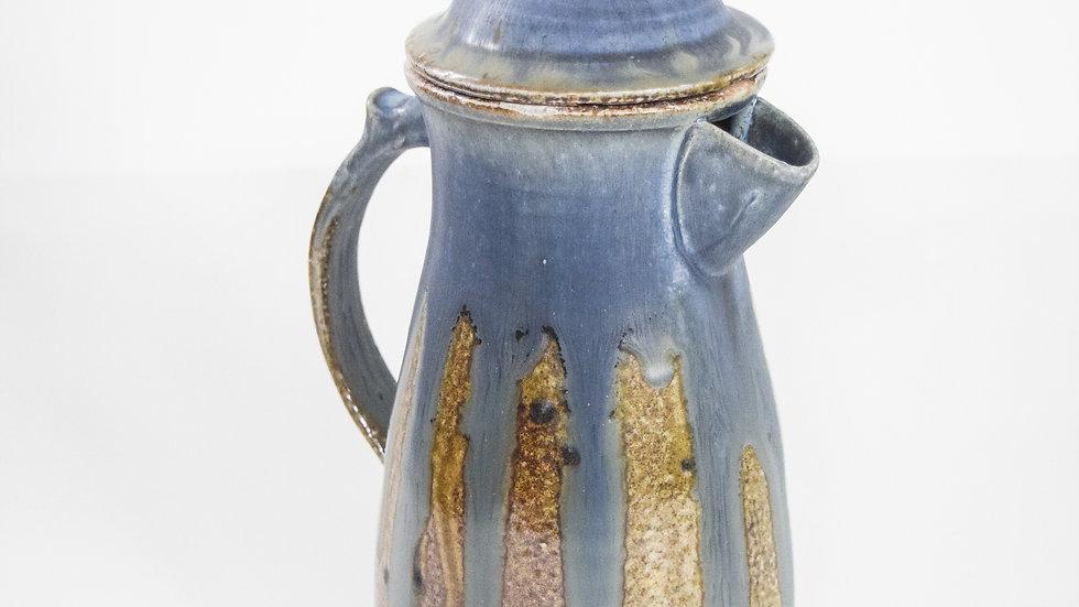Wood Fired Salt Glazed Coffee Pot, Blue & Brown