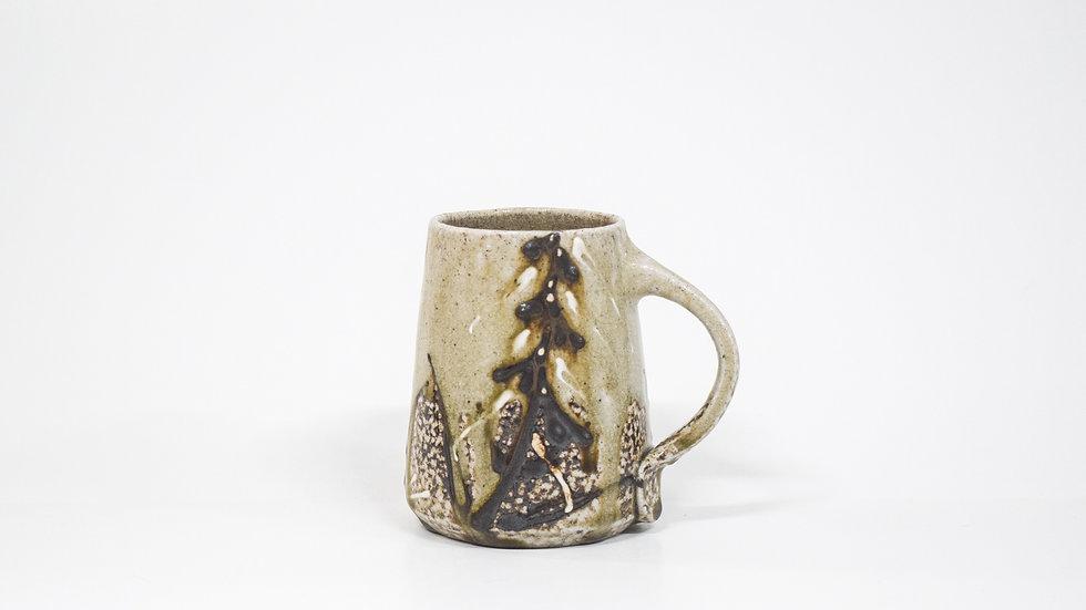 Wood Fired Salt Glazed Mug, Fox Glove Design in Black