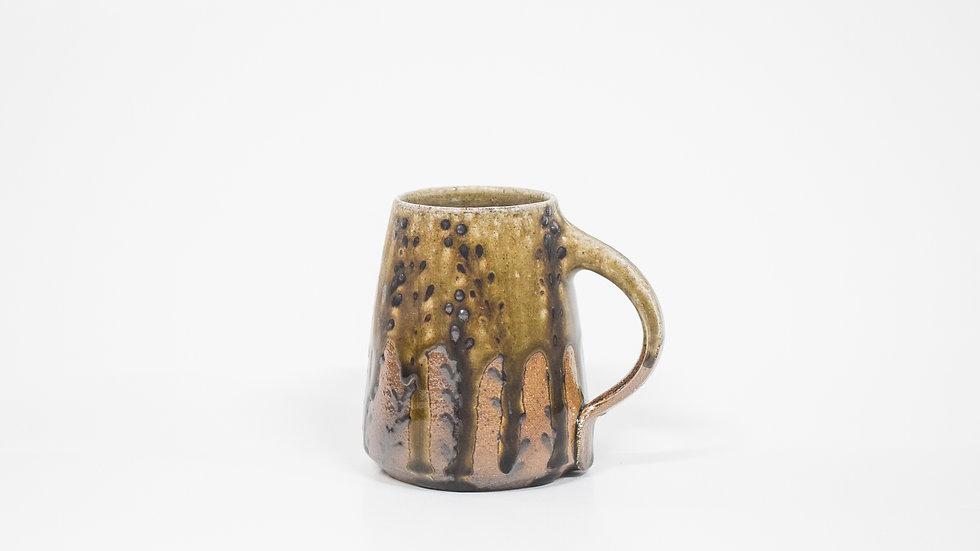 Wood Fired Salt Glazed Mug, Floral Decoration in Gold