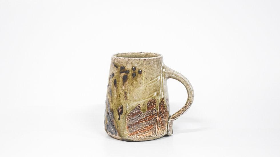 Wood Fired Salt Glazed Mug, Two Toned Palm Design