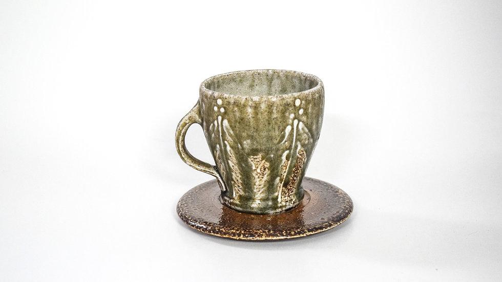 Wood Fired Salt Glazed Tea Cup, White Palm Design in Blue Green