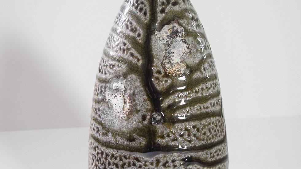 Wood Fired Salt Glazed Oval Vase, Large Short