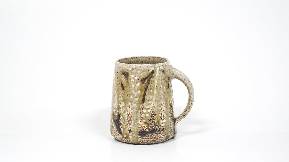 Wood Fired Salt Glazed Mug, Bow with Fern Design