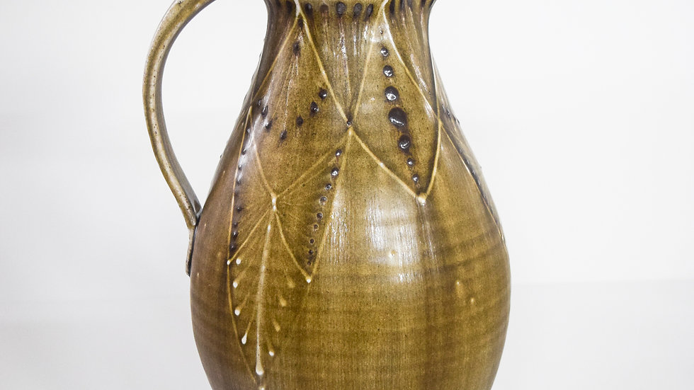Wood Fired Salt Glazed Pitcher, Geometric Design in Green Gold