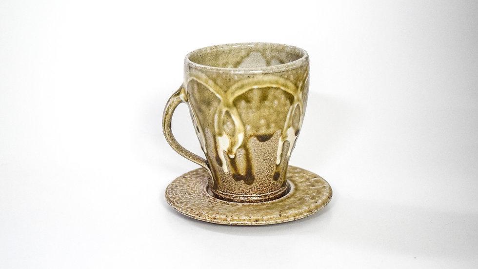 Wood Fired Salt Glazed Tea Cup, White Swirl in Gold