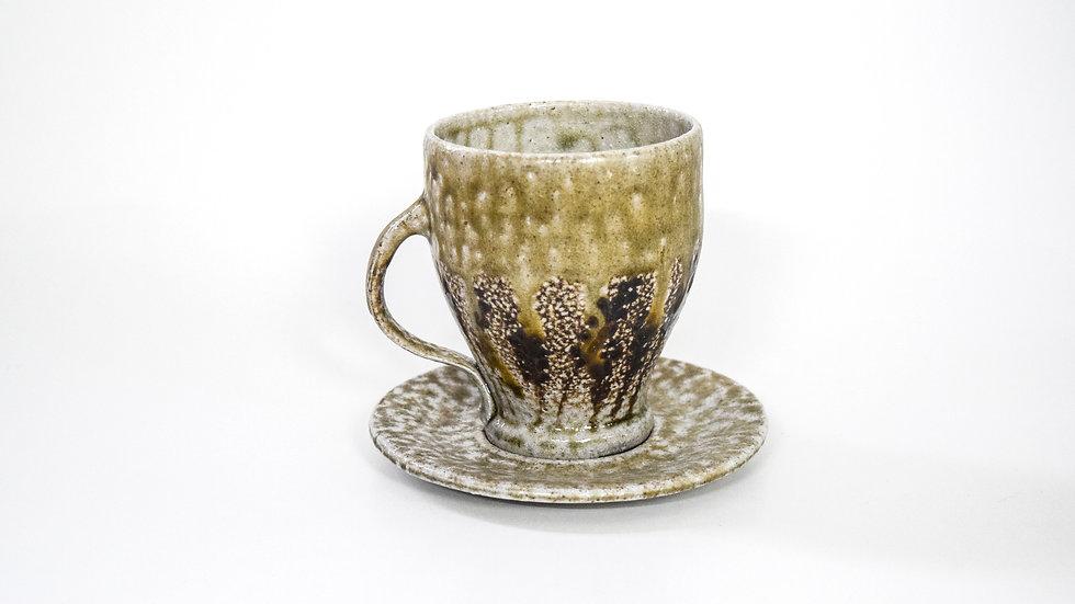Wood Fired Salt Glazed Tea Cup, Black Fern Design in Gold