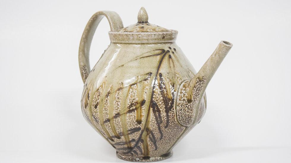 Wood Fired Salt Glazed Large Tea Pot, Dark Fern Design in Green