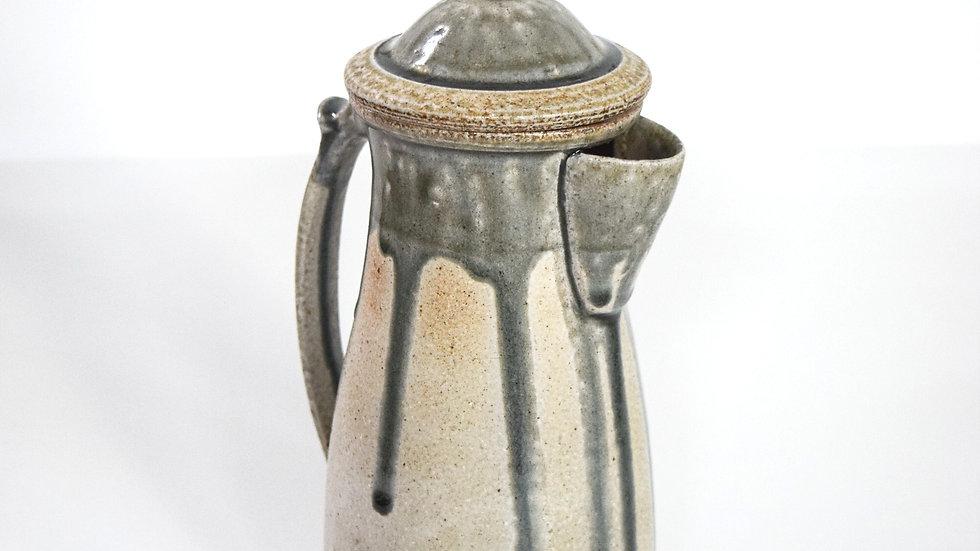Wood Fired Salt Glazed Coffee Pot, Blue & White