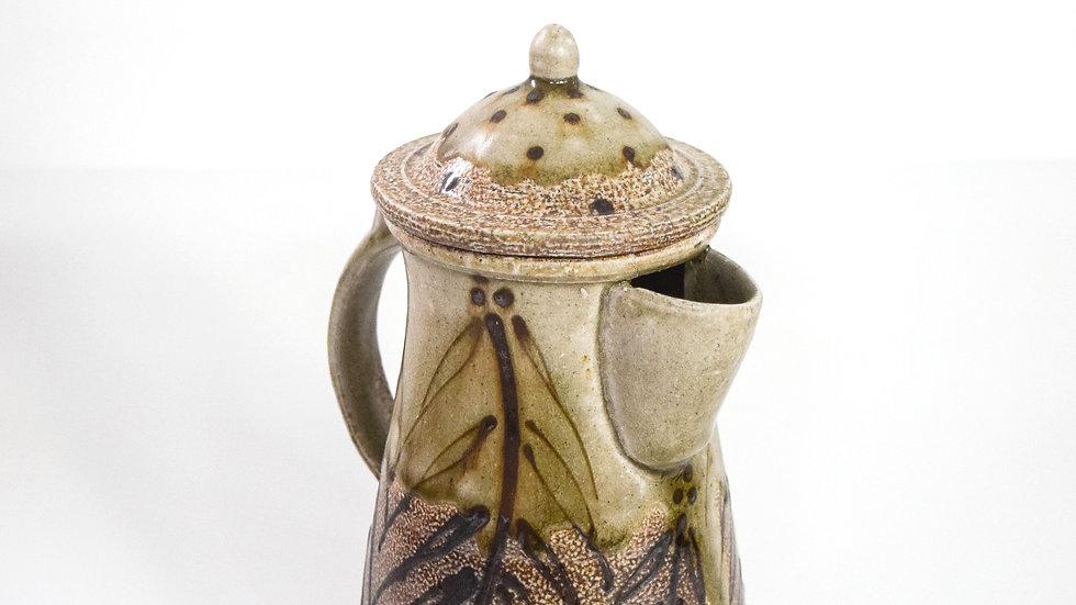 Wood Fired Salt Glazed Coffee Pot, Dark Fern Design in Green