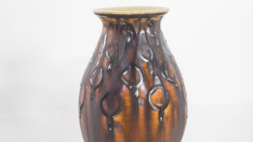 Wood Fired Salt Glazed Vase, Dark Circle Design in Burgundy